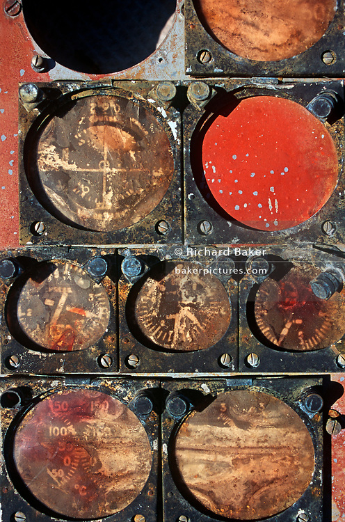 The rusting remains of a NASA Mercury Project-era spacecraft instrument panel awaits bids during a NASA space junk auction on Merrit Island, Florida - part of a sale of space paraphernalia belonging to NASA enginer Charlie Bell, on 10th March 2003, on Merrit Island, Florida, USA. (Photo by Richard Baker / In Pictures via Getty Images)