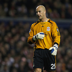 Liverpool, England - Wednesday, October 3, 2007: Liverpool's goalkeeper Jose Pepe Reina looks dejected as his side lose 1-0 to Olympique de Marseille during the UEFA Champions League Group A match at Anfield. (Photo by David Rawcliffe/Propaganda)