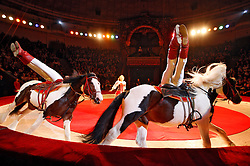 September 15, 2016 - Kiev, Ukraine - Ukrainian National Circus artists perform during the presentation of the new show program  ''Extreme Arena'' at the Ukrainian National Circus in Kiev, Ukraine, 15 September,2016. The show will be staged from 15 September to 11 December 2016. (Credit Image: © Str/NurPhoto via ZUMA Press)