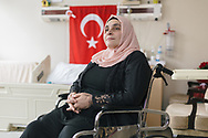Vahide Şefkatlıoğlu, 40, in her hospital room in Istanbul, Turkey. Vahide lost one of her legs and severly injured another when a tank ran her over on the 15th of July 2016 during an attempted coup d'etat in Turkey.