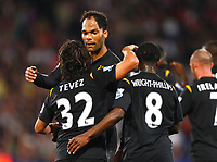 Football<br /> Carling Cup Second Round <br /> Manchester City's Joleon Lescott Celebrates with his new Team Mates Crystal Palace v Manchester City at Selhurst Park Stadium, London 27/08/2009 Credit Colorsport / Kieran Galvin