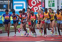Elite woman start  at  The Virgin Money London Marathon, Sunday 26th April 2015.<br /> <br /> Photo: Jon Buckle for Virgin Money London Marathon<br /> <br /> For more information please contact Penny Dain at pennyd@london-marathon.co.uk