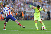 Atletico de Madrid´s Gabi and FC Barcelona´s Pedro Rodriguez during 2014-15 La Liga match between Atletico de Madrid and FC Barcelona at Vicente Calderon stadium in Madrid, Spain. May 17, 2015. (ALTERPHOTOS/Luis Fernandez)