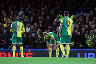The Norwich players look dejected after conceding their side's 1st goal during the Barclays Premier League match at Stamford Bridge, London<br /> Picture by Paul Chesterton/Focus Images Ltd +44 7904 640267<br /> 21/11/2015