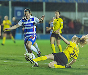 Watford Ladies Mollie Burgess sliding tackle during the FA Women's Super League match between Reading LFC and Watford Ladies FC at the Rushmoor Community Stadium, Farnborough, United Kingdom on 2 April 2015. Photo by Mark Davies.