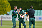 Drinks break for Michael Lumb and Billy Root during the Royal London 1 Day Cup match between Worcestershire County Cricket Club and Nottinghamshire County Cricket Club at New Road, Worcester, United Kingdom on 27 April 2017. Photo by Simon Trafford.