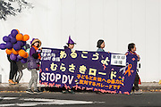 Purple Rd parade. DV victims and others take part in a parade aimed at ending violence against women and children in Tokyo, Japan on Nov. 06, 2016.  ROB GILHOOLY