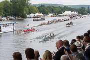 Henley on Thames, England, United Kingdom, Sunday, 07.07.19, Eton College (left)<br /> and<br /> Scotch College, Melbourne, Australia, AUS, (right) passing the Progress Board, in the Final, of Princess Elizabeth Challenge Cup,Henley Royal Regatta,  Henley Reach, [©Karon PHILLIPS/Intersport Images]<br /> <br /> 12:35:03 1919 - 2019, Royal Henley Peace Regatta Centenary,