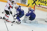 Yohann Auvitu / Cristobal huet - 03.05.2015 - France / Suisse - Championnat du Monde de Hockey sur Glace -Prague <br />Photo : Xavier Laine / Icon Sport