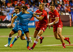 March 10, 2018 - Vancouver, British Columbia, U.S. - VANCOUVER, BC - MARCH 10: Harry Jones (#11) of Canada tackles the Uruguayan player who passes backwards to offload during Game # 23- Canada vs Uruguay Pool A match at the Canada Sevens held March 10-11, 2018 in BC Place Stadium in Vancouver, BC. (Photo by Allan Hamilton/Icon Sportswire) (Credit Image: © Allan Hamilton/Icon SMI via ZUMA Press)