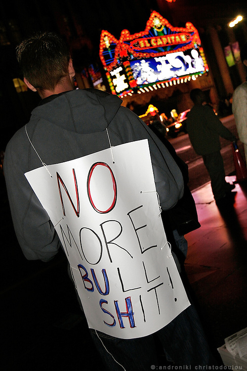 Hollywood Blv. .Kery campaigners on a Halloween night