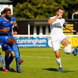 Dovers midfielder Mitch Brundle on the ball during the National League match between Dover Athletic FC and Eastleigh FC at Crabble Stadium, Kent on 25 August 2018. Photo by Matt Bristow.