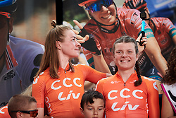 Riejanne Markus (NED) works on the next episode of her YouTube series at 2019 Giro Rosa Iccrea Team Presentation in Cassano Spinola, Italy on July 4, 2019. Photo by Sean Robinson/velofocus.com