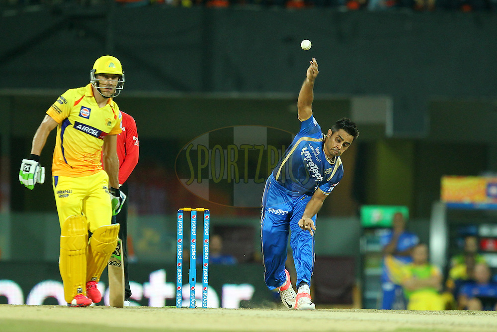 Rajat Bhatia of Rajasthan Royals bowls during match 47 of the Pepsi IPL 2015 (Indian Premier League) between The Chennai Superkings and The Rajasthan Royals held at the M. A. Chidambaram Stadium, Chennai Stadium in Chennai, India on the 10th May 2015.Photo by:  Prashant Bhoot / SPORTZPICS / IPL