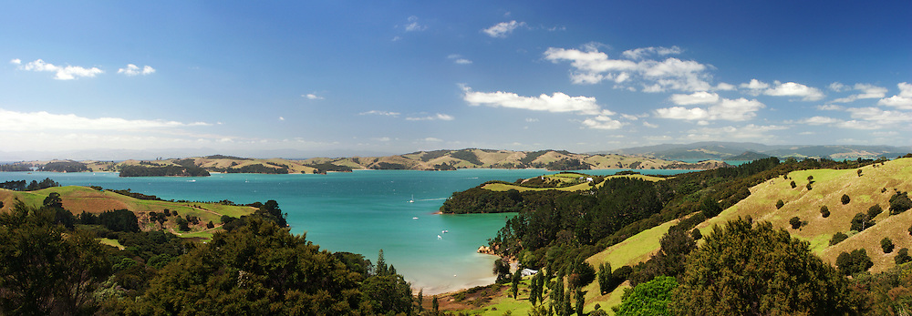 magnificent waiheke island panoramic photo providing views of hauraki gulf, stunning blue ocean, green hills and secluded bays, waiheke, new zealand