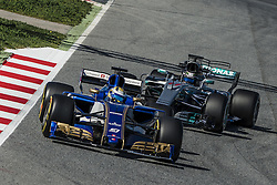 March 1, 2017 - Montmelo, Catalonia, Spain - MARCUS ERICSSON (SWE) drives in his Sauber C36-Ferrari on track followed by VALTTERI BOTTAS (FIN) during day 3 of Formula One testing at Circuit de Catalunya (Credit Image: © Matthias Oesterle via ZUMA Wire)