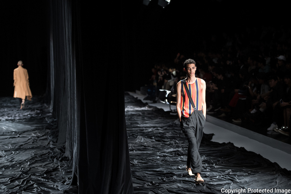 OCTOBER 21: A model  presents the BED j.w.FORD collection at the Amazon Fashion Week Tokyo's 2017 Spring/Summer show under way at Shibuya Hikarie in Tokyo on Oct. 21, 2016. and other locations through 23rd. Nearly 50 fashion brands and companies will hold their shows at several locations through 23rd.. 21/10/2016-Tokyo, JAPAN