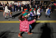 Pine Bush, New York  - Children in the parade march down Main Street during the Community Country Christmas 2011 celebration on Dec. 3, 2011.