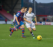 Dundee's Henrik Ojamaa races away from Inverness' Carl Tremarco - Inverness Caledonian Thistle v Dundee in the Ladbrokes Scottish Premiership at Caledonian Stadium, Inverness.Photo: David Young<br /> <br />  - © David Young - www.davidyoungphoto.co.uk - email: davidyoungphoto@gmail.com