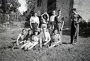 casual posed family group vintage photo rural outdoors