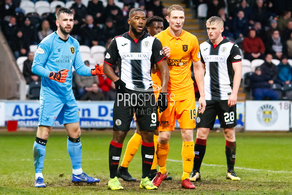 Liam Kelly of Livingston looks to make room for the corner as Duckens Nazon of St Mirren stands his ground during the Ladbrokes Scottish Premiership match between St Mirren and Livingston at the Simple Digital Arena, Paisley, Scotland on 2nd March 2019.