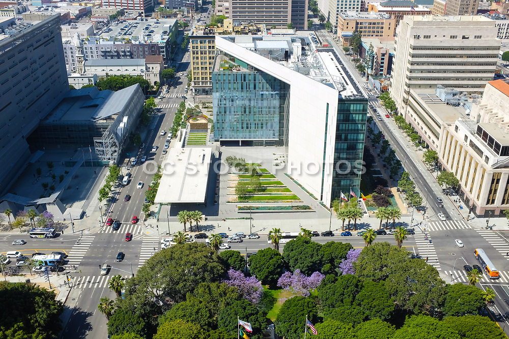 Aerial View Of The Police Admin Building in Downtown LA