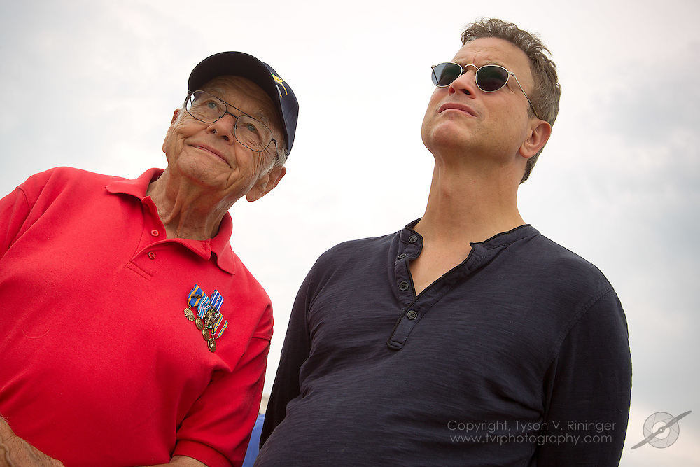 Retired Air Force 1st Lt. Jack 'Uncle Jack' Sinise views the Parade of Veterans along side his nephew and actor, Gary Sinise...Disabled American Veterans Parade activities involving Vietnam Veteran and triple-amputee, Jim Sursely, B-25 'Panchito' owner and pilot, Larry Kelley and actor Gary Sinise.