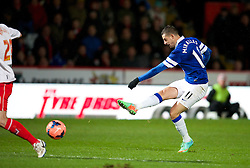STEVENAGE, ENGLAND - Saturday, January 25, 2014: Everton's Kevin Mirallas in action against Stevenage during the FA Cup 4th Round match at Broadhall Way. (Pic by Tom Hevezi/Propaganda)
