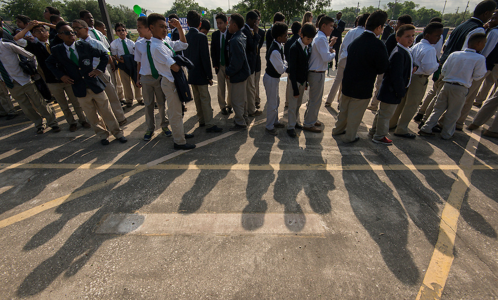 Students line up for groundbreaking ceremonies for the Mickey Leland College Preparatory Academy, April 16, 2015.