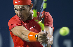 TORONTO, Aug. 12, 2018  Rafael Nadal of Spain returns the ball against Karen Khachanov of Russia during the semifinal match of men's singles at the 2018 Rogers Cup in Toronto, Canada, Aug. 11, 2018. Rafael Nadal of Spain won 2-0. (Credit Image: © Xinhua via ZUMA Wire)