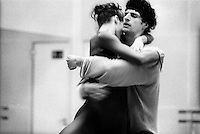 Darcey Bussell and Jonathan Cope rehearsing Chrstopher Wheeldon's Tryst for its premiere in May 2002