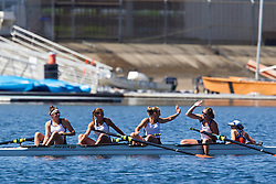May 30, 2010; Sacramento, CA, USA; The University of Virginia Varsity Four team of Coxswain Sarah Pichardo (right), Ruth Retzinger, Hunter Terry, Chelsea Simpson, Inge Janssen celebrate after winning the Grand Final during the Division I 2010 NCAA Women's Rowing Championships at the Sacramento State Aquatic Center. Virginia won the national championship in the team competition.  (Special to the Daily Progress / Jason O. Watson)