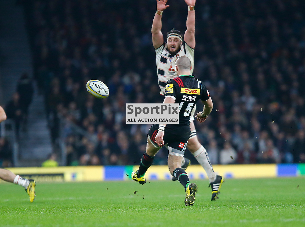 Harlequins Mike Brown clears the ball as Harlequins James Horwill bears down on him. Twickenham Stadium, London. Big Game 8. Harlequins V Gloucester (c) Matt Bristow | SportPix.org.uk