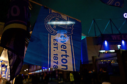 LIVERPOOL, ENGLAND - Monday, December 19, 2016: An Everton flag outside Goodison Park before the FA Premier League match between Everton and Liverpool, the 227th Merseyside Derby, at Goodison Park. (Pic by Gavin Trafford/Propaganda)