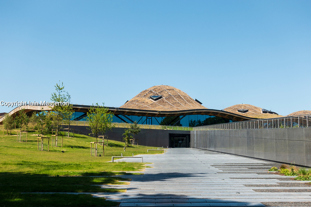 Exterior of new Scotch Whisky distillery at The Macallan distillery in Craigellachie in Moray, Scotland, UK