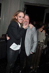 Left to right, comedian TIM MINCHIN and  CHRIS MOYLES at the opening night performance of The Rocky Horror Show, This performance is to celebrate the 40th Anniversary UK Tour, at The New Wimbledon Theatre, Wimbledon, London SW19 on 21st January 2013.