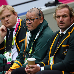 LONDON, ENGLAND - OCTOBER 07: Adriaan Strauss with Charles Wessels (Operational Head) and Jannie du Plessis during the Rugby World Cup 2015 Pool B match between South Africa and United States of America at The Stadium, Queen Elizabeth Olympic Park on October 07, 2015 in London, England. (Photo by Steve Haag/Gallo Images)
