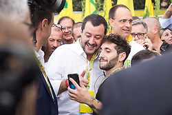 October 5, 2018 - Rome, Italy - Matteo Salvini takes a selfie with his fans..The Minister of the Interior and Vice President of the Italian Council Matteo Salvini inaugurates the Village Coldiretti at the Circus Maximus in Rome (Credit Image: © Matteo Nardone/Pacific Press via ZUMA Wire)