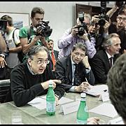 Nella foto Sergio Marchionne e Paolo Rebaudengo<br /> <br /> Tavolo tra Governo, FIAT, sindacati ed enti locali per discutere del futuro degli investimenti del Lingotto, dopo la decisione di trasferire la produzione della monovolume in Serbia, nella sala Giunta regionale in Piazza Castello a Torino.