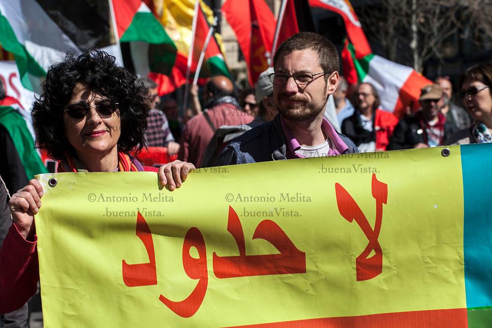 Corteo antifascista a Palermo nel giorno dell'anniversario della Liberazione.