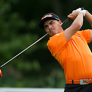 August 24, 2014: Rickie Fowler (USA) tee's off at the 5th hole during the final round of The Barclays Fed Ex  Championship at Ridgewood Country Club in Paramus, NJ. Mandatory Credit:  Kostas Lymperopoulos/csm  (Credit Image: © Kostas Lymperopoulos/Cal Sport Media)