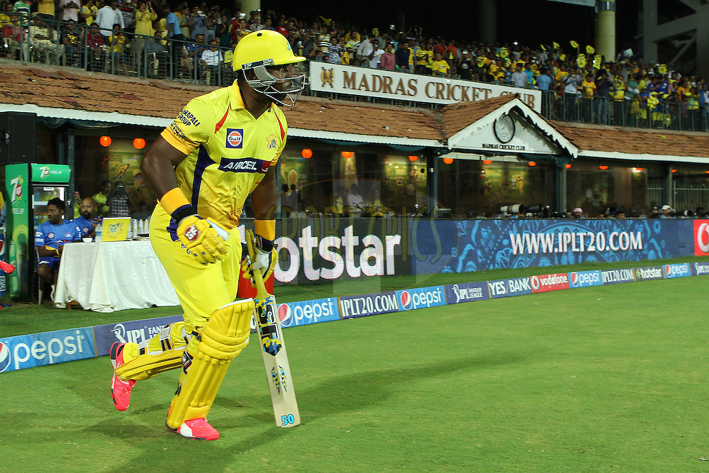 Dwayne Smith of the Chennai Superkings opens for CSK during match 43 of the Pepsi IPL 2015 (Indian Premier League) between The Chennai Superkings and The Mumbai Indians held at the M. A. Chidambaram Stadium, Chennai Stadium in Chennai, India on the 8th May April 2015.<br /> <br /> Photo by:  Ron Gaunt / SPORTZPICS / IPL
