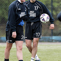 St Johnstone Training..10.05.02   <br /> Paul Hartley and Martin Maher during training before St Johnstone's final SPL game before relegation<br /> see story by Gordon Bannerman Tel:01738 553978<br /> <br /> Picture by Graeme Hart.<br /> Copyright Perthshire Picture Agency<br /> Tel: 01738 623350  Mobile: 07990 594431