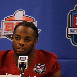 January 6, 2012; New Orleans, LA, USA; Alabama Crimson Tide running back Trent Richardson (3) talks during Media Day for the 2012 BCS National Championship game to be played on January 9, 2012 against the LSU Tigers at the Mercedes-Benz Superdome.  Mandatory Credit: Derick E. Hingle-US PRESSWIRE