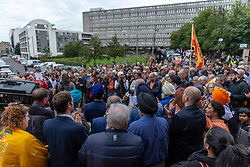 A Peace vigil has been held at a Sikh temple in the Leith district of Edinburgh. The vigil, called by the Muslim Women's Association of Edinburgh and supported by Stand up to Racism Edinburgh, follows a fire at the temple. A 49 year-old man has been charged over the incident.<br /> <br /> Pictured: The large crowd that turned out to show support for the Sikh community