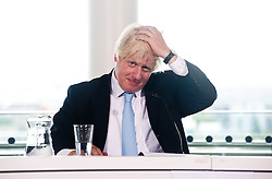 Legacy of London's Olympic and Paralympic Games press conference.<br /> Mayor of London, Boris Johnson touches his hair during the press conference,<br /> London, United Kingdom<br /> Thursday, 25th July 2013<br /> Picture by Piero Cruciatti / i-Images