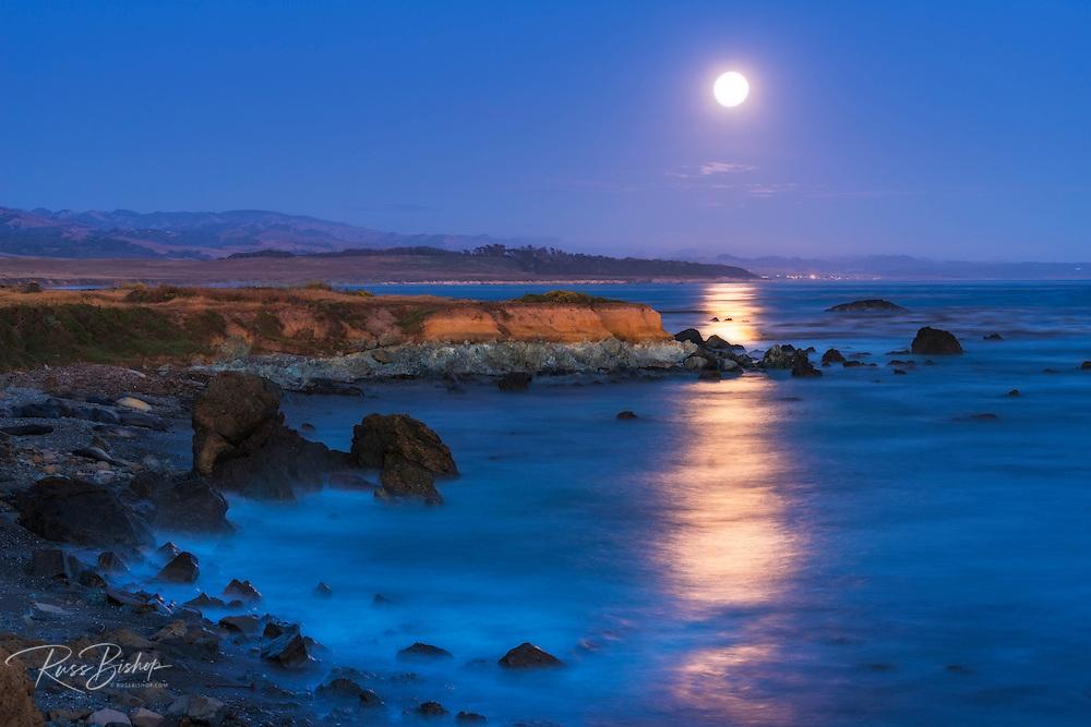 Full moon rising over Piedras Blancas elephant seal rookery, San Simeon, California USA