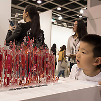 Child looks artist Jane Lee's 'AM IV, 2017' at Art Basel Hong Kong 2017 on 23 March 2017, in Hong Kong Convention and Exhibition Centre, Hong Kong, China. Photo by Chris Wong / studioEAST