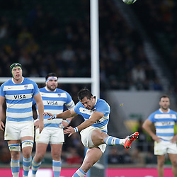 Santiagio Gonzalez Iglesias of Argentina kicks during the The Rugby Championship match between Argentina and Australia at Twickenham Stadium, Twickenham - 08/10/2016<br />