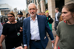 © Licensed to London News Pictures. 04/06/2019. London, UK. Leader of the Labour Party Jeremy Corbyn walks to a demonstration on Whitehall where he made a speech, protesting against the President of the United States of America, who was in Downing Street having a meeting with British Prime Minister Theresa May as part of a state visit to the UK. Photo credit : Tom Nicholson/LNP